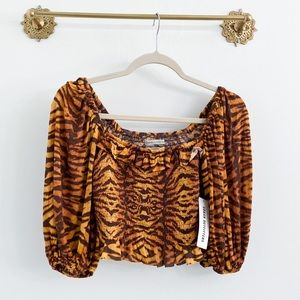 Urban Outfitters Animal Tiger Smocked Crop Top